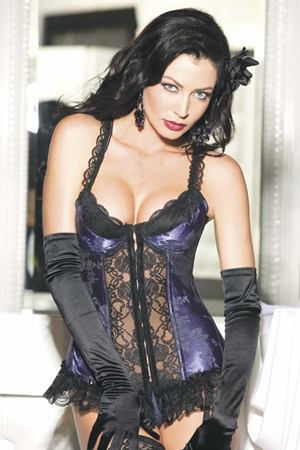 Satin Tapestry Long-line Bustier